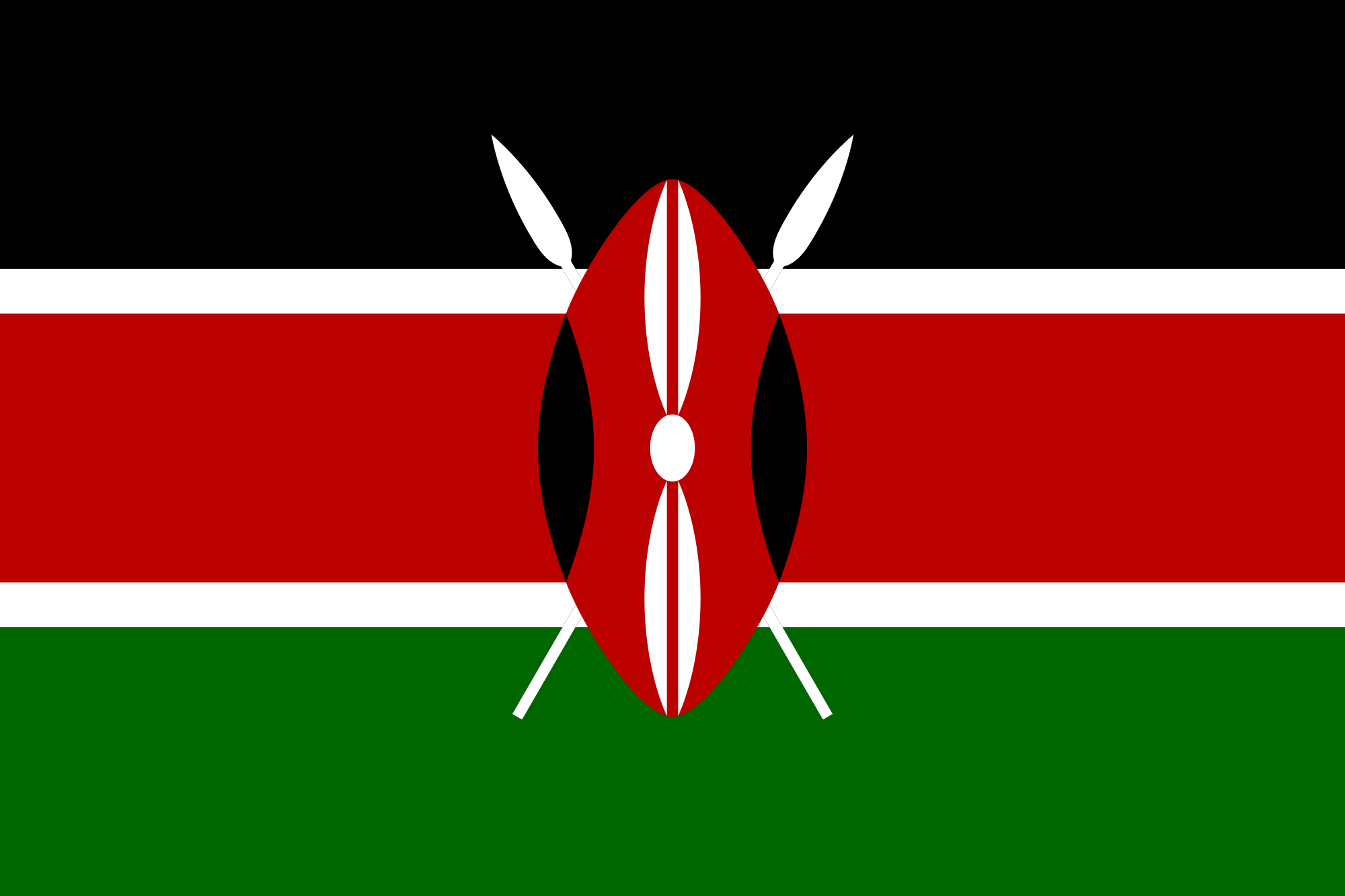Kenya flag symbolism of colors flag etiquette design and history and green bottom colors running from left to right separated by white stripes with a symmetrical shield and white spears superimposed in the middle biocorpaavc Choice Image